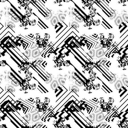 Modern abstract seamless pattern with uneven round stains, spots, geometrical shapes, splashes, lines. Geo background, textile. Иллюстрация