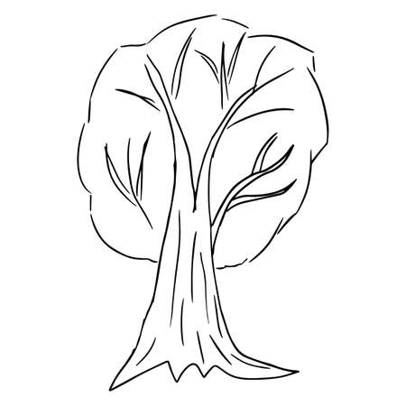Cute doodle, cartoon sloppy tree isolated on white background. Forest hand drawn sketch icon. Иллюстрация
