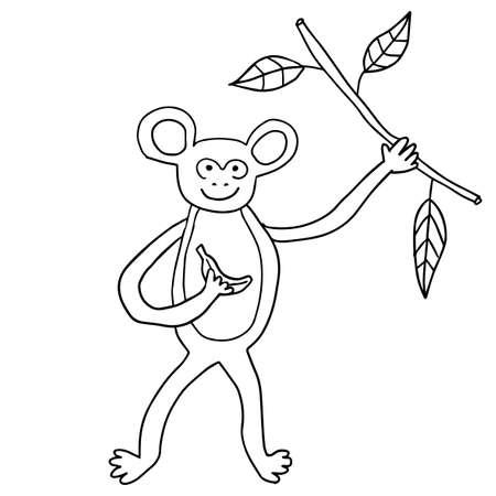 Cute happy doodle monkey with banana and liana isolated on white background. Cartoon tropic animal.