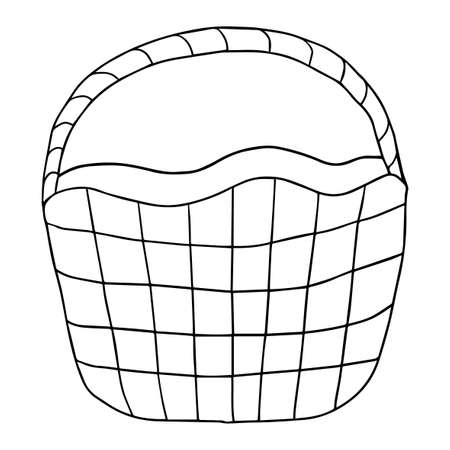 Cartoon doodle linear basket isolated on white background. Picnic hand drawn pottle.