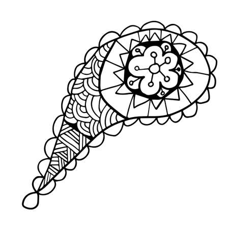 Cute doodle floral paisley isolated on white background. Ornamental flower element for design. Иллюстрация