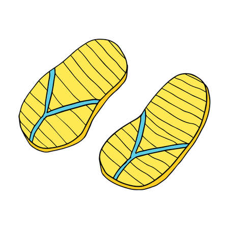Abstract doodle rubber sandals for a beach or pool isolated on white background. Иллюстрация