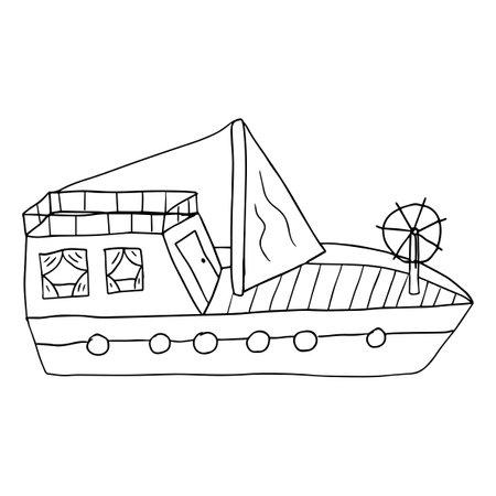 Cute cartoon doodle sailing yacht isolated on white background. Childlike style ship. Иллюстрация