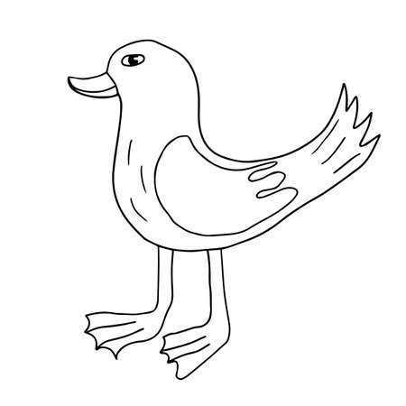 Cartoon doodle linear duck isolated on white background. Cute sketch of a bird. Иллюстрация