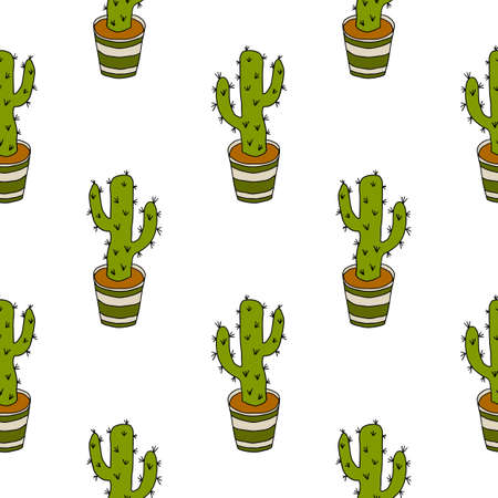 Cartoon doodle cactus in the pot seamless pattern. Potted flower background.