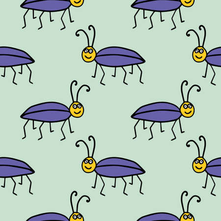 Seamless pattern with cute cartoon doodle linear bug isolated on background. Иллюстрация