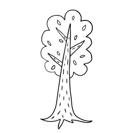 Cute doodle, cartoon tree isolated on white background. Forest hand drawn sketch icon. Иллюстрация