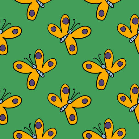 Cartoon doodle butterfly infinity background. Cute insect seamless pattern.