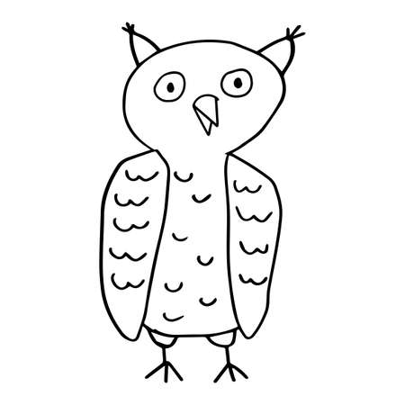 Cute cartoon doodle linear owl isolated on white background. Forest bird. Иллюстрация