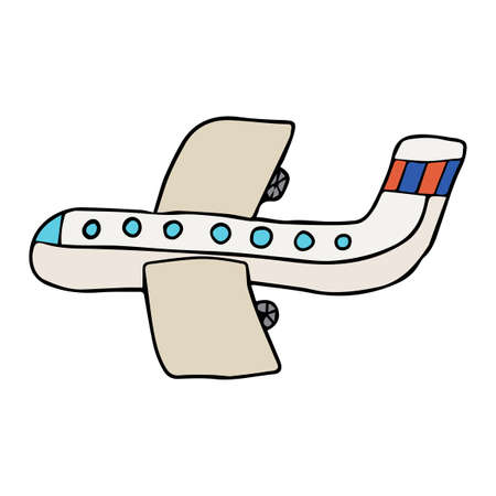 Cartoon doodle linear airplane isolated on white background. Sky transportation icon. Иллюстрация