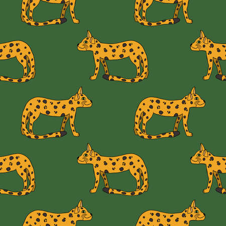 Cute Doodle Seamless Pattern With Leopards In Childlike Style.