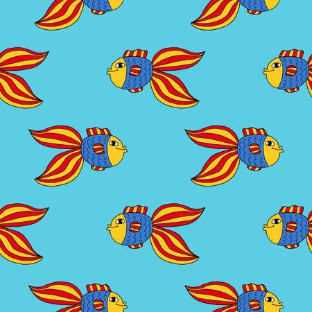 Crazy tropical fish seamless pattern. Colorful cute cartoon doodle sea animal background. Hand drawn aquarium fish infinity card, textile.