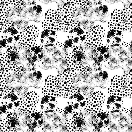 Modern abstract seamless pattern with uneven round stains, spots, geometrical shapes, splashes, lines. Geo background, textile. Фото со стока