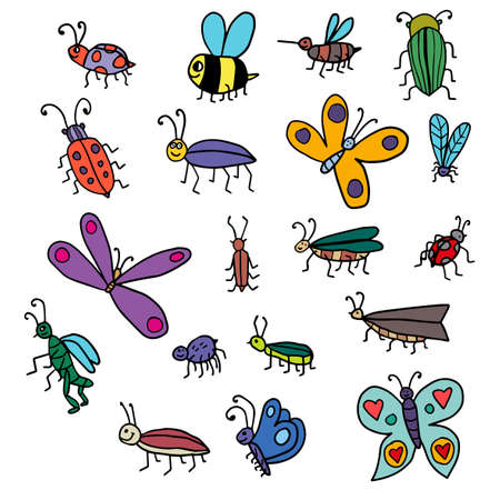 Cute cartoon doodle linear midge, fly, bug, butterfly, bee set isolated on white background. Insects collection.