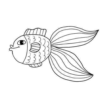 Crazy tropical fish. Colorful cute cartoon doodle sea animal. Hand drawn aquarium fish isolated on white background.