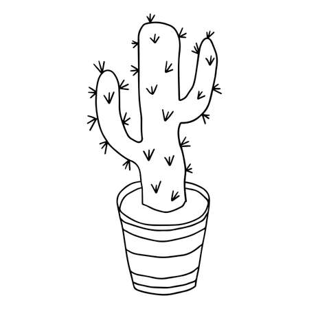 Cartoon doodle cactus in the pot isolated on white background.