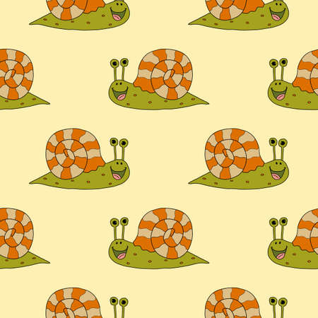 Cartoon doodle linear happy snail seamless pattern. Animal, insect summer background.