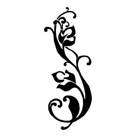 friso: Patr�n de friso negro con flores Vectores