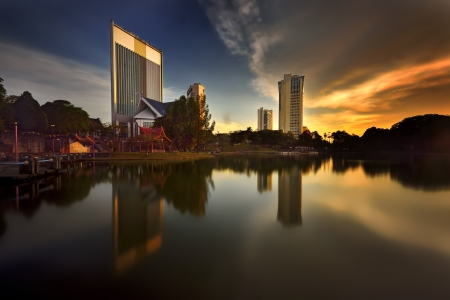 shah: Beautiful sunset with building and reflection