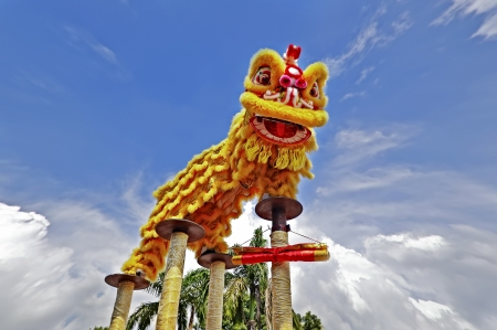 lion dance: Lion dance with beautiful sky Stock Photo