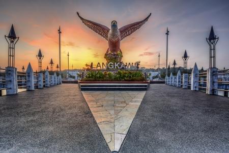 Langkawi Square landmark van Eagle tijdens zonsopgang Stockfoto