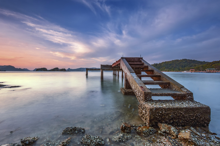 malai: Langkawi beach scene at Tanjung Malai with blue sky and bridge Stock Photo