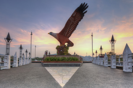 sightseeing: Eagle Square in Langkawi, Malaysia during sunrise