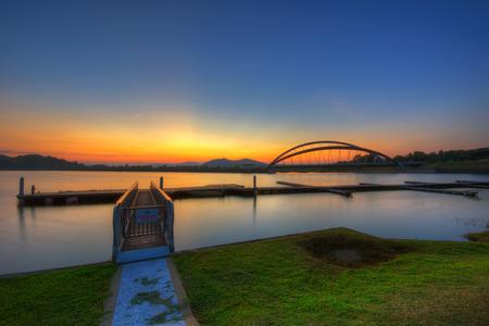Sunrise at Putrajaya Dam, Putrajaya, Malaysia.