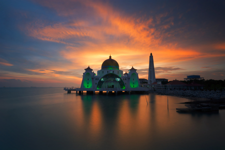 Holy Selat Mosque view during calm sunset at the beach Stock Photo