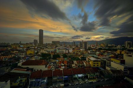 penang: Beautiful sunset over Penang City Editorial