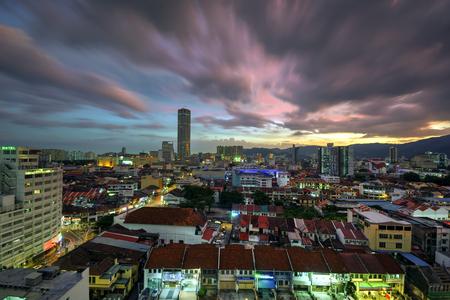 pinang: Beautiful sunset over Penang City Editorial