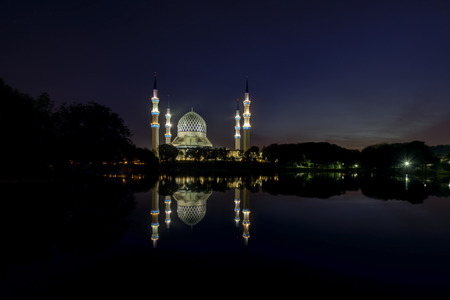 islamic wonderful: Blue Mosque At Twilight, Sultan Salahuddin Abdul Aziz Mosque