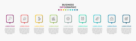 Business Infographic design template Vector with icons and 9 nine options or steps. Can be used for process diagram, presentations, workflow layout, banner, flow chart, info graph Vektoros illusztráció