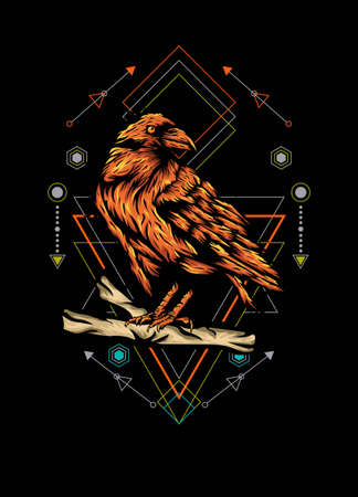 Raven, bird crow, vector illustration with sacred geometry pattern for t shirt design