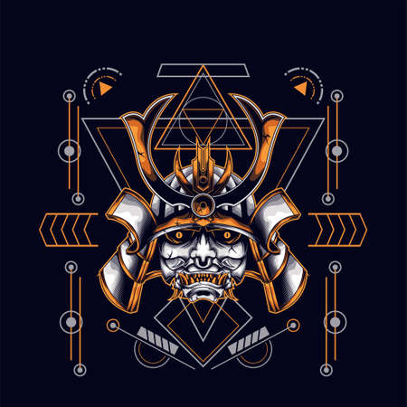 oni mask samurai head with sacred geometry ornament