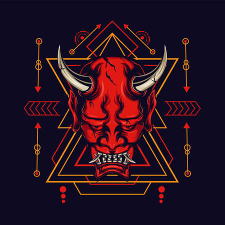 Devil mask with sacred geometry ornament and black background for t-shirt design