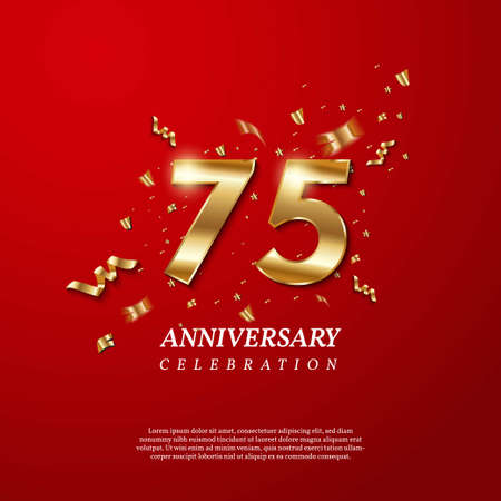 75th Anniversary celebration. Golden number 75 with sparkling confetti, stars, glitters and streamer ribbons on red background. Vector festive illustration. Birthday or wedding party event decoration