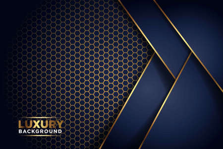 luxurious dark navy gold line overlap background with hexagon mesh pattern combination. elegant modern technology futuristic background vector illustration
