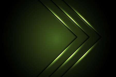 Abstract green light arrow on dark grey design modern luxury futuristic technology background vector illustration