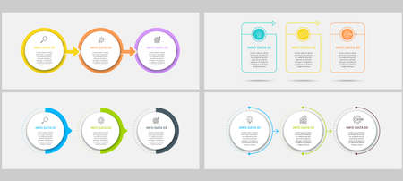 Vector Infographics set with 3 options or steps. Business concept. Can be used for presentations banner, workflow layout, process diagram, flow chart, info graph Vector Illustration