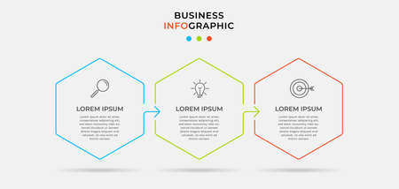 Vector infographic template with icons and 3 options or steps. Infographics for business concept. Can be used for presentations banner, workflow layout, process diagram, flow chart, info graph. Vektorgrafik