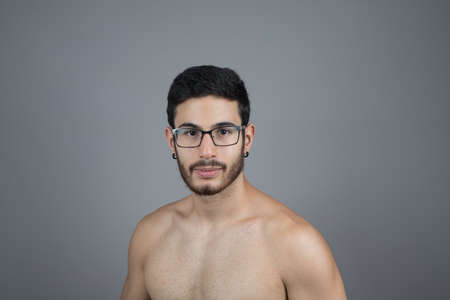 young bearded man without shirt