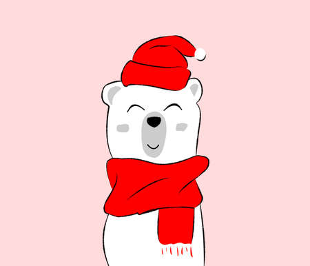 illustration of bear with christmas cap