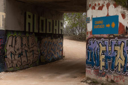 Tunnel with graffiti on the walls, tunnel of conflictive neighborhoods.