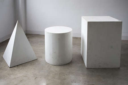 group of white wooden Rectangular, cylinder, pyramid shape