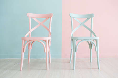 Vintage wooden chair Painted Two Tone on Two Tone background