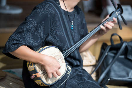 japanese woman playing traditional music instrument Archivio Fotografico