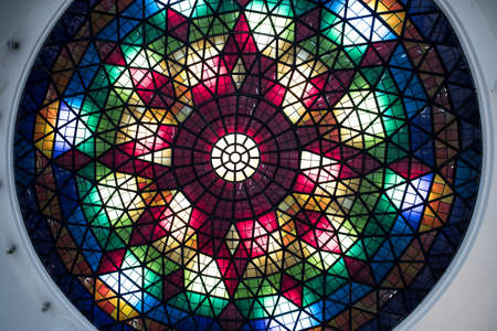 color stained glass ceiling in the form of a dome in a modern building
