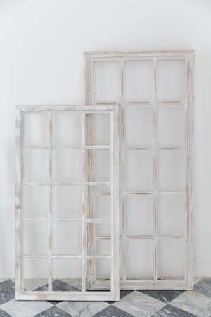 set of old wooden window frame on white background