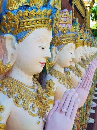 The beautiful statues of Thai statues in Thai temple. Archivio Fotografico